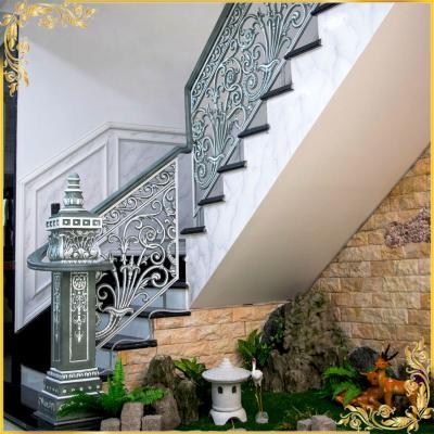 Cầu thang nhôm đúc màu giả đá
