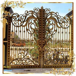 Cổng nhôm đúc hoa lá tây mẫu 009