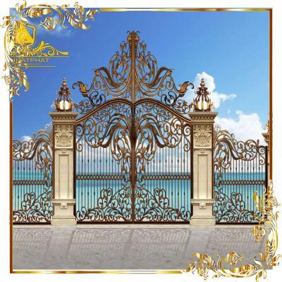 Cổng nhôm đúc hoa lá tây vòm cao